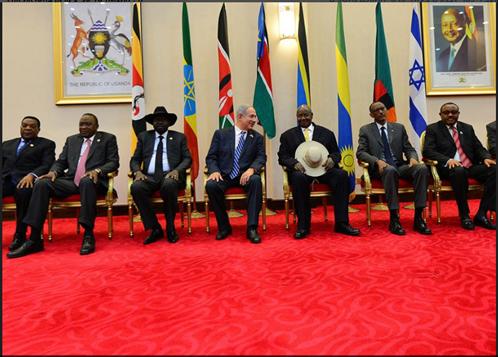 """נתניהו נפגש עם מנהיגי מרואנדה, קניה, אוגנדה, אתיופיה, דרום סודאן, זמביה וטנזניה באוגנדה, יולי 2016. צילום: קובי גדעון, לע""""מ"""