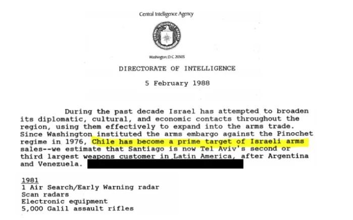 """מתוך מסמכי סוכנות הביון של ארה""""ב. בחלק המודגש נכתב: """"צ'ילה הפכה ליעד מרכזי של מכירות נשק ישראלי"""""""