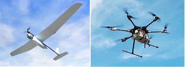 """מימין: רחפן """"קונדור"""" של חברת ISTAR, משמאל: מזל""""ט """"סקיילרק"""" של חברת אלביט"""